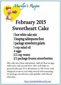 Marilyn Holdsworth Recipe for February 2015