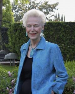 Marilyn Holdsworth in the back yard.