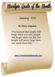Quote of the month, Marilyn Holdsworth